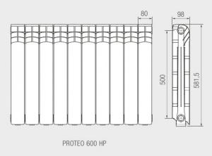 Ferroli grzejnik Aluminiowy PROTEO 600 HP 10 żeberek