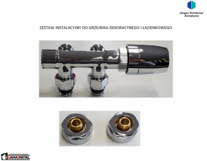 Schlosser kątowy moduł przyłączeniowy do grzejników dekoracyjnych chrom połysk