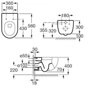 ROCA MERIDIAN-N MISKA USTĘPOWA WISZĄCA A346247000