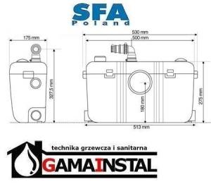 Rysunek techniczny pompy Sanibest Pro