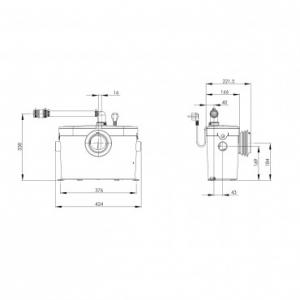 Rysunek techniczny pompy Saniaccess 2