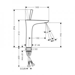 Wymiary techniczne baterii umywalkowej 15081400