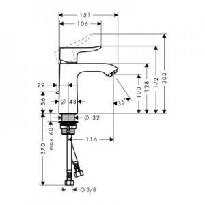 Rysunek techniczny baterii umywalkowej Metris 110