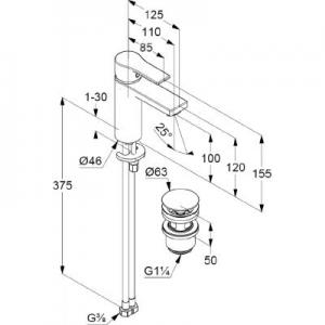 Rysunek techniczny baterii umywalkowej Zenta SL