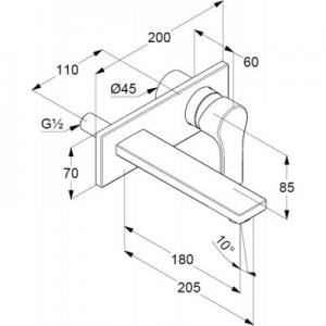 Rysunek techniczny baterii umywalkowej 48 247 05 65