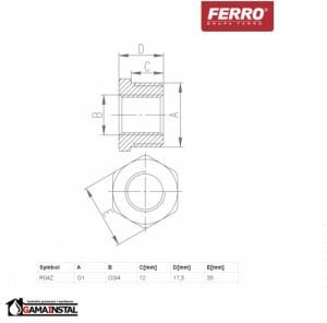 FERRO REDUKCJA MOSIĘŻNA G 1x3/4 R04Z