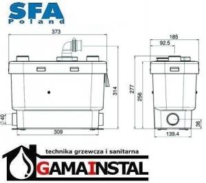 Rysunek techniczny pompy Sanivite