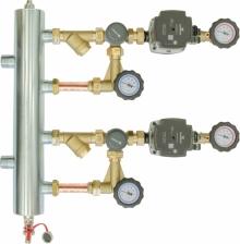 Afriso-Zestaw mieszający ze sprzęgłem hydraulicznym BPS 966, dwa człony z zaworem obrotowym ARV 362, pompy Grundfos UPM3