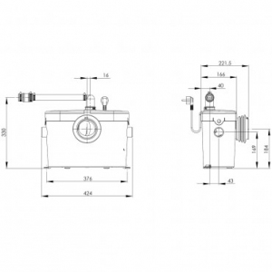 Rysunek techniczny pompy Saniaccess 1